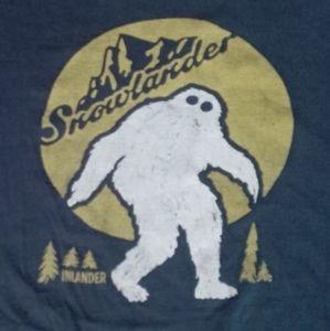 Sasquatch Snowlander ski snowboard t shirt faded